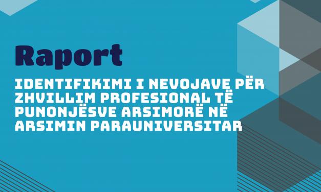 Identifikimi i Nevojave për Zhvillim Profesional të Punonjësve Arsimorë në Arsimin Parauniversitar