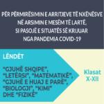 Udhëzues për Përmirësimin e Arritjeve të Nxënësve në Arsimin e Mesëm të Lartë, si Pasojë e Situatës së Krijuar nga Pandemia Covid-19